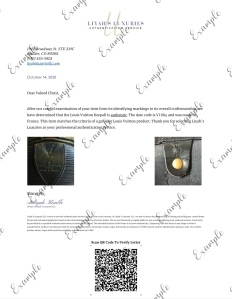 Liyah's Luxuries Louis Vuitton Letter of Authenticity